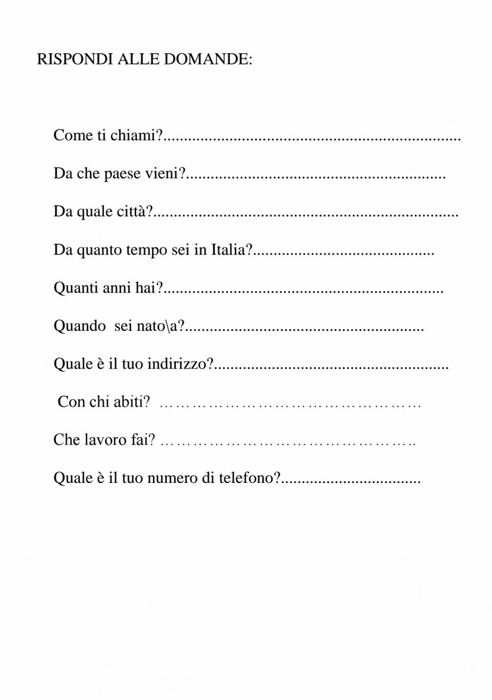 Esercizi di Italiano Docente Milena Allia   E learning CPIA Asti